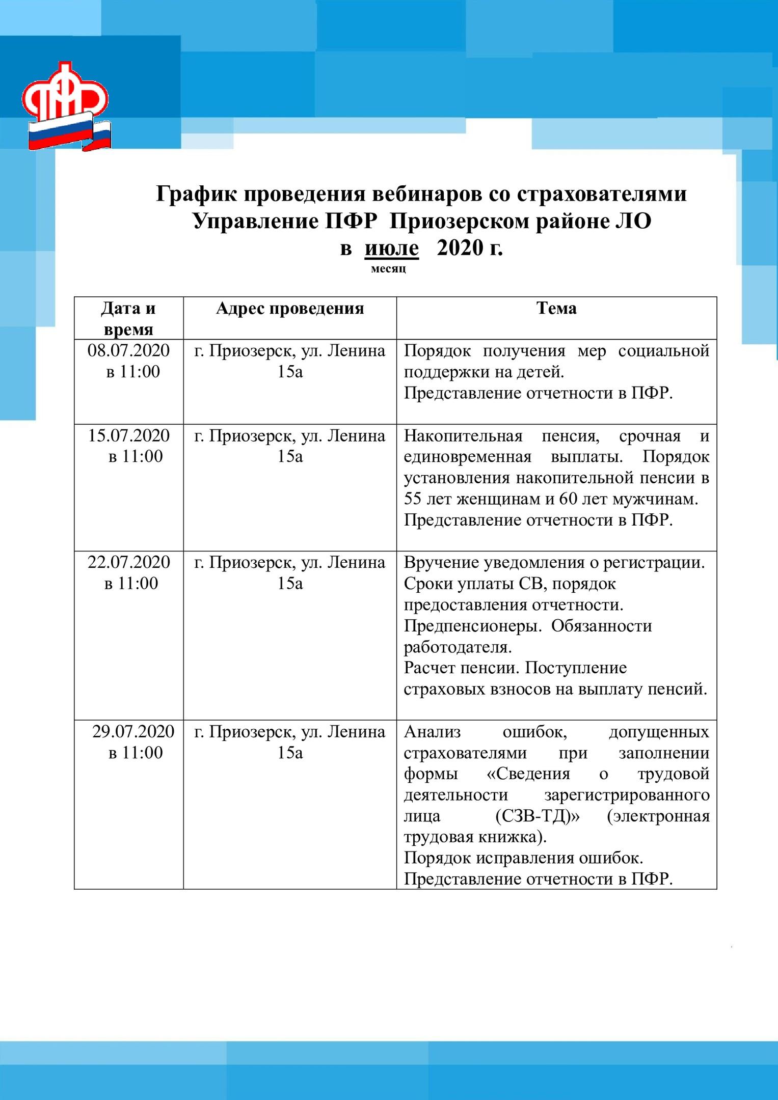 График проведения вебинаров 07.2020